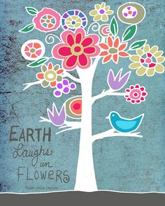 Beautiful Words Print Wall Art Illustration Quote by BethNadlerArt