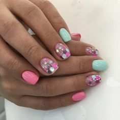Pin on Black girls hairstyles Pin on Black girls hairstyles Pink Summer Nails, Pink Nails, Glitter Nails, Hot Nails, Hair And Nails, Confetti Nails, Nagel Gel, Gorgeous Nails, Nail Manicure