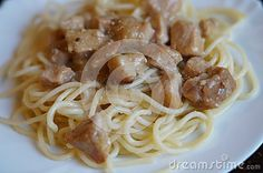 Spaghetti with pork goulash, dinner