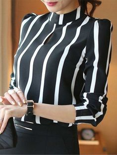 Casual Women Hollow Out Full Sleeve Striped Chiffon Blouse Women Office Shirts Cloth Tops Trendy Dresses, Stylish Outfits, Nice Dresses, Fashion Outfits, Stylish Clothes, Style Noir, Dinner Outfits, Sleeveless Turtleneck, Black And White Blouse