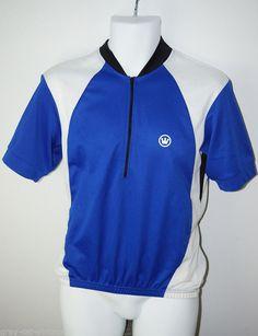 Men's Half Zip Canari Brand Cycling Bike Riding Jersey Shirt Blue & White Medium #Canari