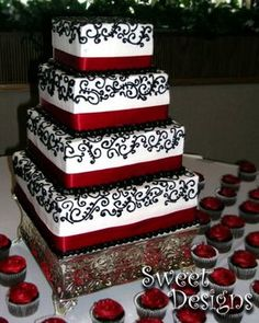 red, black, and white cake with the design we are going with!