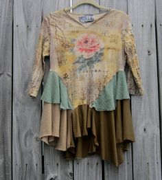 Asian Shabby Peony flower tunic top/ Script writing / tree vines / patchwork / Gypsy Hippie boho clothing