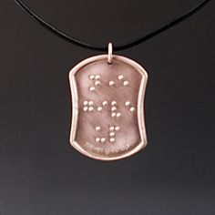 Never Give Up Braille Pendant in PURE Silver by KFEHRdesigns