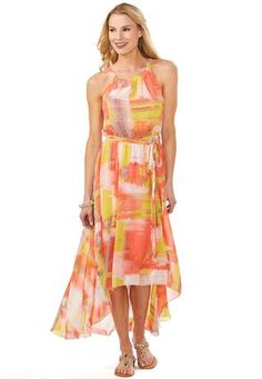 Cato Fashions Watercolor Belted Dress #CatoFashions