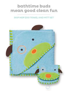 Soft and absorbent, the Skip Hop hooded towel and mitt set make bathtime fun.