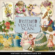 Freebies Vintage Easter Vignettes--FREE