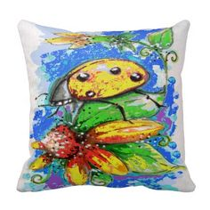 Yellow Lady Bug Pillow