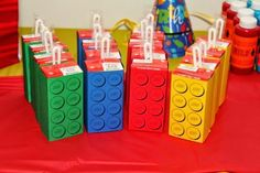 There comes a stage when every kid wants a Lego party. We've got all the best ideas right here, from invitations to games and amazing Lego birthday cakes. Lego Themed Party, Lego Birthday Party, 6th Birthday Parties, Boy Birthday, Lego Party Favors, Birthday Ideas, Theme Parties, Party Bags, Lego Invitation