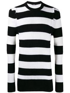 Balmain Striped Crewneck Jumper In Black Jumper, Men Sweater, Parisian Style, Size Clothing, Balmain, Plus Size Fashion, Crew Neck, Women Wear, Bodycon Dress