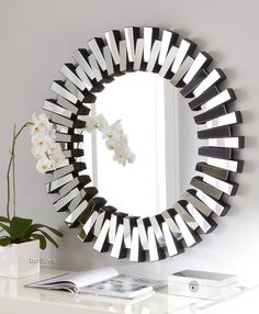 The Bronx is a large round, circle hanging mirror in starburst design. This hollywood mirror is perfect for your makeup table, hallway or entrance hall. Buy round mirrors online and save during our mirror sale. The perfect art deco mirror for your home. White Wall Mirrors, Silver Wall Mirror, Rustic Wall Mirrors, Round Wall Mirror, Mirror Art, Round Mirrors, Decorative Mirrors, Eclectic Mirrors, Full Bath
