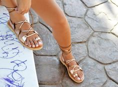 Leather sandals Gladiator sandals Greek sandals Lace by SAVOPOULOS