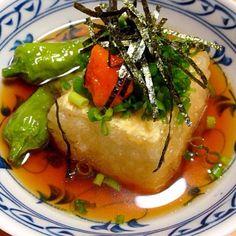 本日は和食です。焼き魚と汁物に、揚げ出し豆腐を添えて( ^ω^ ) - 75件のもぐもぐ - 揚げだし豆腐 by micciewaori