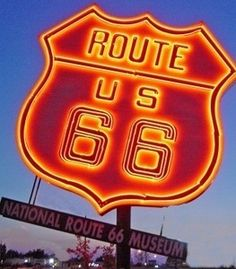 National Route 66 Museum in Elk City, Okla. As far as we know, this is the largest neon Route 66 shield on the road.