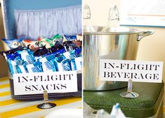 "Airplane Themed Party - love the suitcase holding the ""inflight"" treats - such a great idea."