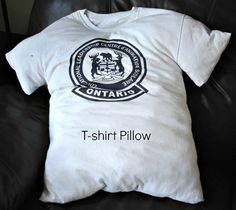 Make a T-shirt Pillow Out of a Special Shirt and Kid's Co-op.  I LIKE THIS IDEA TO MATCH THE TSHIRT QUILT BUT I WOULD HAVE TO CUT THE ARMS OFF AND NECK