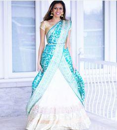 Combo white n blue half saree