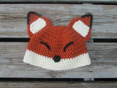 Sleepy Fox Crochet Hat Baby to Adult by ThatsSewJulieS on Etsy, $25.00
