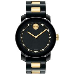 Women's Movado 'Bold' Diamond Index Ceramic Bracelet Watch, 36mm (17,960 MXN) ❤ liked on Polyvore featuring jewelry, watches, accessories, bracelets, relógios, movado watches, ceramic watches, movado jewelry, bracelet watch and movado