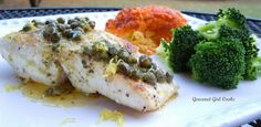 Pan Seared Wild Pacific Halibut w/ Lemon, Capers and Garlic Herb Butter