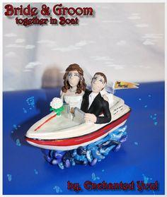 Wedding Cake Topper Bride & Groom in a Boat by EnchantedYou54449, $169.99