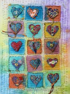 Textile Art - Aesthetic Home Decor Welcome to my gallery page. Here you will find many examples of the larger wall… Brighten your luxury home with textile art Embroidery Art, Machine Embroidery, Fabric Postcards, Creative Textiles, Fabric Journals, Mini Quilts, Heart Art, Fabric Art, Fabric Books