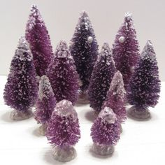 Pretty Purple Bottle Brush Christmas Trees by FineandFunThings, $35.00 These are just gorgeous and everyone that knows me knows that purple is my favorite color. I am not sure if I want these or not, there are 11 trees and I can't use 11 trees 5 or 6 would do, though. Hugs, Dee<3