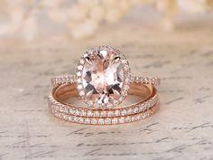 Rosa morganita Set anillo de compromiso 6x8mm por kilarjewelry