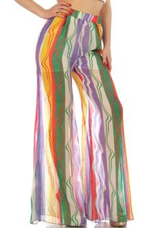 Rainbow Multi-Color Printed Full Length Wide Leg Banded Waist Palazzo Pants #GingasGalleria #Palazzo