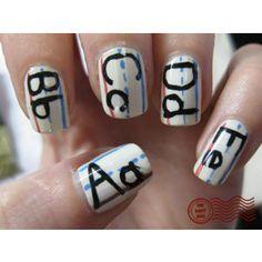 School handwriting finger nail art