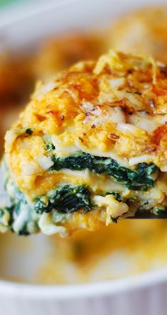 Butternut Squash and Spinach Three Cheese Lasagna combines amazing flavors to create the ultimate Fall & Winter comfort food. healthy, vegetarian @juliasalbum