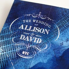 Vintage inspired typography for a NYC invitation. We did lots of layering here, especially for the background which has an old map of Manhattan layered over hand painted blue watercolor #custominvitations #design #weddinginvitations #weddinginspiration #nyc #newyorkwedding #newyork #typography #graphicdesign #painted #watercolor #map #vintage #vintagetype