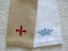 Two new guest towels with a fleur de lis and a pretty crown.  Motifs for Christmas selling.  Want one?