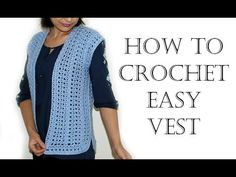 Learn how to crochet this easy, beginner friendly crochet vest! The stitches you'll need to know are double crochet and v-stitch. All sizes! LIKE, COMMENT AN. Black Crochet Dress, Crochet Jacket, Crochet Cardigan, Crochet Vests, Crochet Pullover Pattern, Poncho Knitting Patterns, Baby Knitting, Crochet Patterns, Grannies Crochet