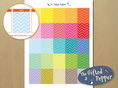 Erin Condren planner stickers, to fit in the daily box, instant download, printable planner stickers, Chevron