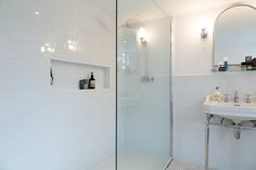 Walk in Shower in a bathroom. Part of a loft conversion in South East London.