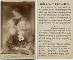 """by Photo_History, via Flickr    The front of this 1875 carte de visite shows a seated woman holding an object in her hands. Over her, a vague image of a woman looking down at two small children in her lap. This would be a fine example of spirit photography except for the text on the reverse side, which details how a test of the spirit photographer was conducted by a panel of sixteen """"respectable, intelligent gentlemen"""" in a photography gallery he had never visited before the test."""