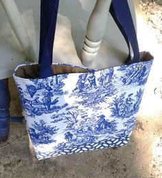 Blue Toile Tote Bag Blue Toile Tote 12x12x2 by PandenteDesigns