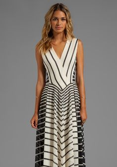 Line Stripe Printed Gown in Black Stripe Print by Halston Heritage