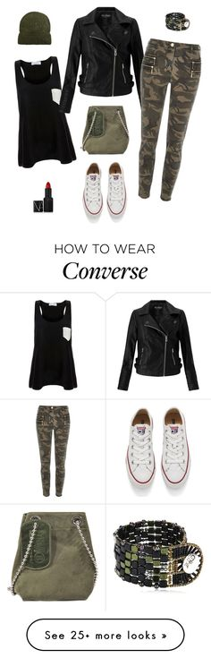 """Converse camo"" by siostranocy on Polyvore featuring Solid & Striped, Miss Selfridge, River Island, Converse, Maison Margiela, MANGO, Ziio and NARS Cosmetics"