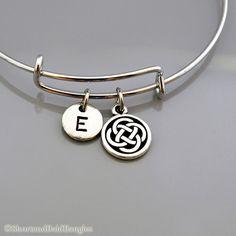 Tracey Celtic Knot bangle, Irish Knot, Celtic knot bracelet, Expandable bangle, Personalized bracelet, Charm bangle, Monogram, Initial bracelet