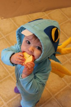 Baby Murloc Costume! Flannel, with felt eyes, foam and flannel spines.