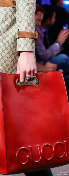 Red Gucci bag.