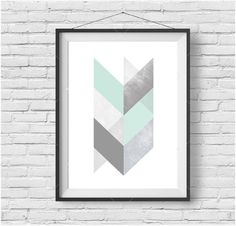 Mint and Grey Chevron Geometric Print, Scandinavian Printable Art, Light Turquoise Print, Teal Art, Downloadable Large Print by PrintAvenue on Etsy https://www.etsy.com/listing/235688151/mint-and-grey-chevron-geometric-print