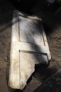 Amphipolis Macedonia, Greece - The second leaf of the marble door - The excavations in the 3rd Chamber brought to light the second leaf of the marble door, in good condition