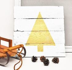 Add some rustic charm to your home this Christmas with this wood pallet craft idea. This easy Christmas sign is a simple way to decorate small spaces! Christmas Tree Stencil, Pallet Christmas Tree, Christmas Signs, Christmas Crafts, Christmas Decorations, Christmas Ideas, Happy Christmas Day, Country Christmas, Simple Christmas