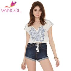 Find More T-Shirts Information about Vancol Crop Tops Women 2016 Vintage Embroidery Geometric Short Shirts New Arrival Summer Style V Neck Waist Lacing Casual Tees,High Quality T-Shirts from VANCOL FASHION  on Aliexpress.com