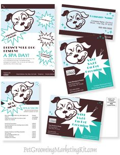 New Dog grooming business advertising and marketing templates in a kit at http://www.petbusinessdashboard.com/original-profit-kit.html