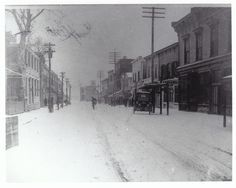 Snow on Bay Street, downtown Beaufort, SC, late 1800s