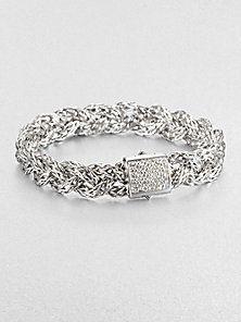 John Hardy - Diamond & Sterling Silver Braided Bracelet